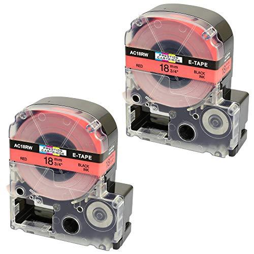 2 Kassetten LC-5RBP LC-5RBP9 SC18RW schwarz auf rot 18mm x 8m Schriftband kompatibel für Epson LabelWorks LW-300 LW-300L LW-400 LW-500 LW-600P LW-700 LW-900P LW-1000P Beschriftungsgerät