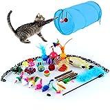 pedy 30 Stück Katzenspielzeug Set mit Katzentunnel Jingle Bell Spielzeugmäuse Katzenminze Bälle Fisch