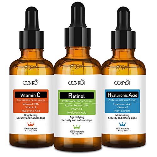 3 Pack Anti Aging Serum for Face-Vitamin C Serum, Retinol Serum, Hyaluronic Acid Serum,Natural Facial Skin Care Products Face Serum Set