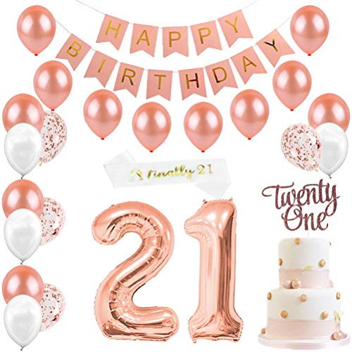 JOYMEMO Rose Gold Geburtstag Dekorationen & 21. Birthday Party Supplies für Mädchen, Cake Topper, Satin Sash, 21 Anzahl Luftballons, Happy Birthday Banner und Luftballons Pearl White