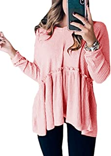 Ferrtye Womens Peplum Tops Long Sleeve V Neck Waffles Knit Ruffles Tunic Shirts