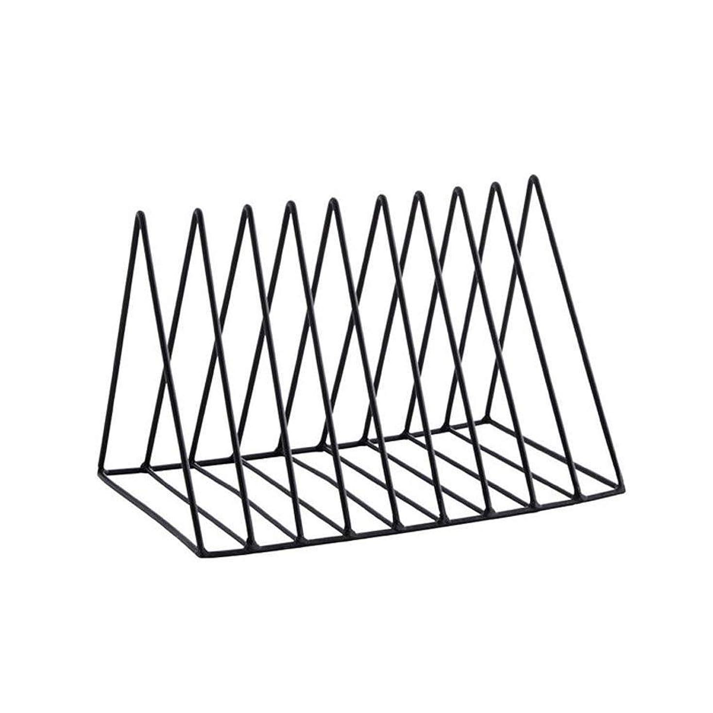 リハーサル潮禁輸RMJAI リビングルーム 本棚錬鉄製の本棚デスクトップミニ本棚本雑貨収納ラック収納ラック新聞雑誌ディスプレイスタンド27×18×17センチ 家庭やオフィスに最適 (Color : Black)