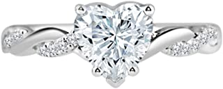 1.15 Ct Heart Cut CZ Solitaire Engagement Ring For Women 925 Sterling Silver 14K White Gold Finish