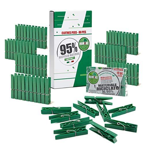 Remake 80 Piezas - Pinzas Ropa Ecológico 95% con Plastico Reciclado, Talla Grande. Molde monobloque. Fuertes y a Prueba de Viento. Made in Italy