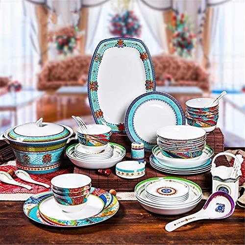 Juego de Platos, Conjuntos de Cena de cerámica, Cuenco/Cuchara/Placa/Olla de Sopa | 51 Piezas Setware de vajilla de vajilla de 51 Piezas - Family Party and Kitchen Restaurant, Euro Ceramica