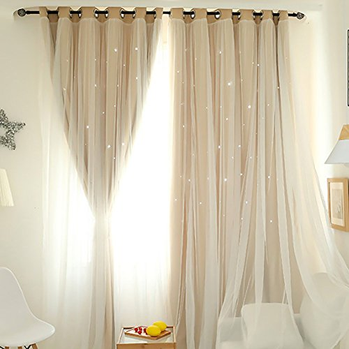 Sheer and Blackout Curtains Set, Romantic Hollowing Out Stars Patterned,Princess Style Curtain for Home,Living Room,Bedroom,Kids Room,Balcony,Hotel Decoration 1PC 100x 200cm