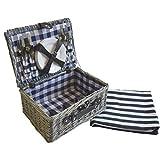 Cesta de picnic Creofant para 4 personas · Juego de picnic · Cesta de mimbre con manta de picnic · Juego de 22 piezas con vajilla · Maletín de picnic con manta, azul de cuadros