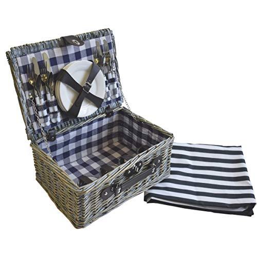 CREOFANT Picknickkorb für 4 Personen · Piknikset · Weidenkorb mit Picknickdecke · 22 teiliges Picknick-Set mit Geschirr · Picknickkoffer Set mit Decke (Natur Karo Blau)