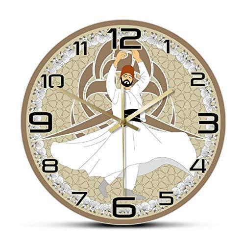 mazhant Reloj de Pared silencioso de Danza Religiosa sufí derviche Giratorio, decoración del hogar árabe Tradicional, Reloj de Pared Colgante de Danza mística Mevlevi-30X30cm