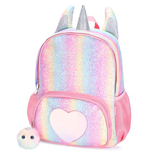 Mibasies Kids Unicorn Backpack for Girls Rainbow School Bag (Rainbow Glitter)