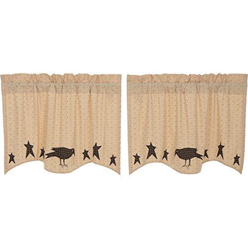 VHC Brands Kettle Grove Applique Crow and Star Tier Set of 2 L24xW36 Country Curtains, Creme