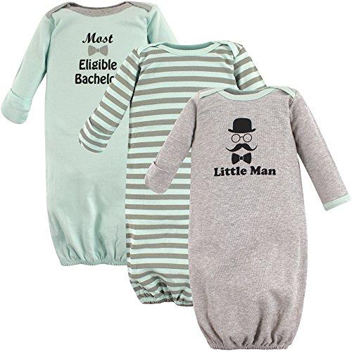 Luvable Friends Unisex Baby Cotton Gowns, Little Man, 0-6 Months