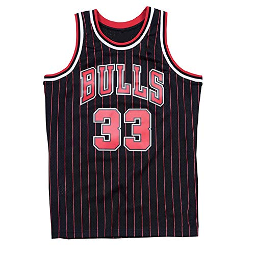 Herren Basketball Jersey-Chicago Bulls 33# Scottie Pippen Retro Throwback Basketball Shirt Stickerei Tops Swingman Basketball Anzug (S-2XL)-M(170cm.175cm)