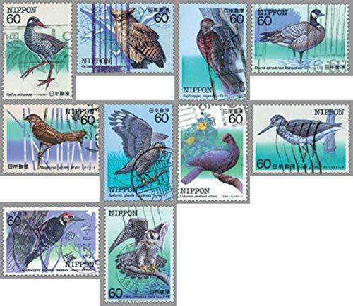10 pezzi / set francobolli postali giapponesi uccelli in via di estinzione gufo usati francobolli postali contrassegnati per la raccolta