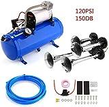 Kacsoo Kit de bocina de aire de 12 V, 4 bocinas para bocinas con compresor de aire de 120 PSI, tanque de aire de 6 L para cualquier vehículo de 12 V, camión, tren, barco, automóvil, furgoneta