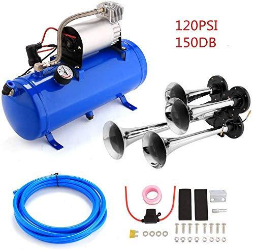 Kacsoo Kit Tromba d'aria 12 V, 4 trombe per trombe con compressore d'aria da 120 PSI Serbatoio d'aria da 6 litri per qualsiasi veicolo a 12 V, camion, treni, barche, auto, furgoni (6L Blue)