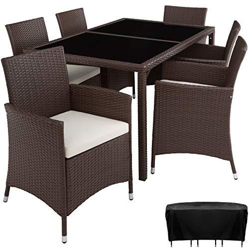 TecTake 800325 - Poly Rattan Sitzgruppe, 6 Stühle mit Sitzkissen, 1 Tisch mit 2 Glasplatten, inkl. Schutzhülle - Diverse Farben - (Mixed braun | Nr. 402059)
