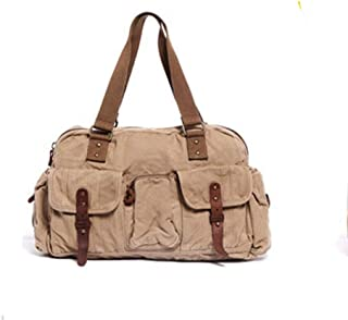 Leather Bag Mens Style Men Khaki Large Capacity Outdoor Canvas Bags for Travelling Fashion Appearance Shopping Business High Capacity (Color : Brown, Size : S)