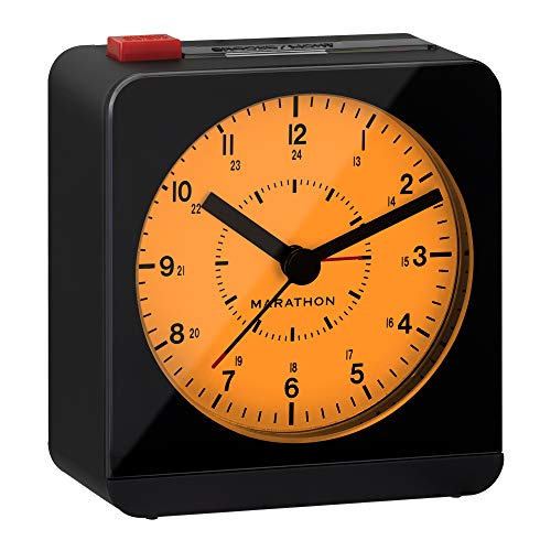 Marathon Silent Non-Ticking Alarm Clock with Warm Amber Auto Back Light and Repeating Snooze - Batteries Included - CL030053BK/WH (Black/White)