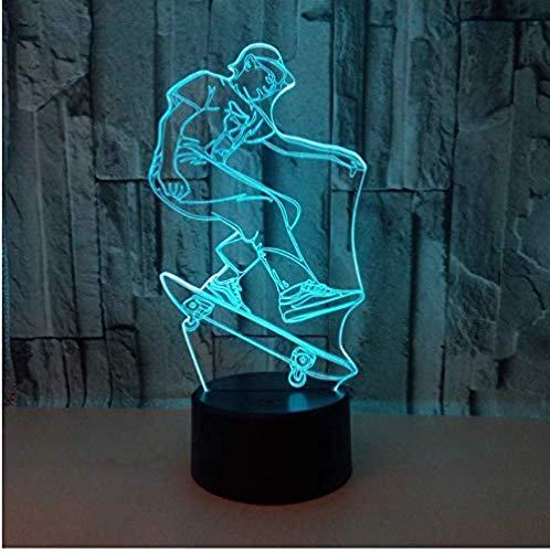 3D Skateboard Lampe 7 Farbe Led Nachtlichter Baby Schlafen Beleuchtung Touch Usb Tischlampe Usb Für Skateboard Fans Geschenk