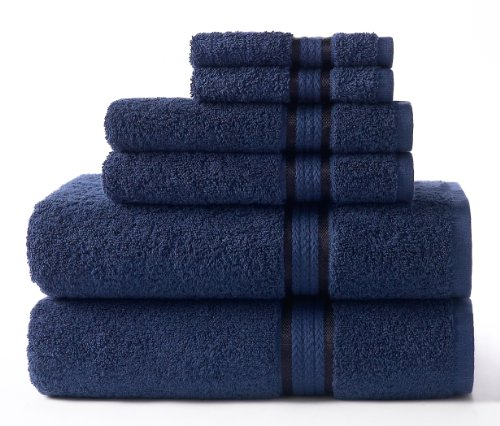 COTTON CRAFT Ultra Soft Luxury 6 Piece Ringspun Cotton Towel Set, 580GSM, Heavyweight, 2 Bath Towels, 2 Hand Towels, 2 Washcloths, Night Sky