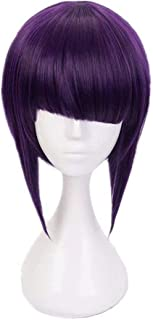 AICW Purple Cosplay Wig Costume Synthetic Hair Short Bob Wigs with Bangs for My Hero Academia Jiro Kyoka(Purple)