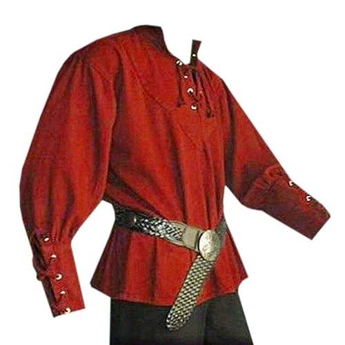98448e64f Karlywindow Men's Medieval Lace up Pirate Mercenary Scottish Wide Cuff Shirt  Costume