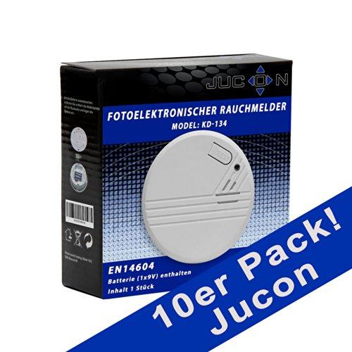 Jucon 10er-Set Rauchmelder, Feuermelder, geprüft nach EN 14604