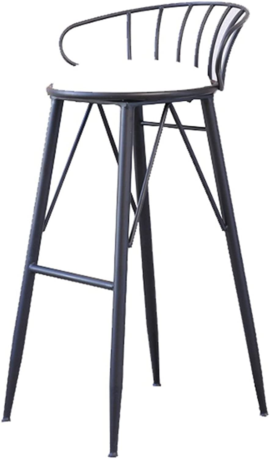 LYXPUZI Barhocker Nordic bar Stool Wrought Iron bar Stool high Stool Modern Dining Chair bar Chair Frühstücksschemel (color   Black, Size   65CM)