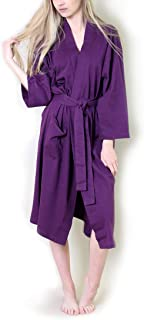 100% Organic Cotton Spa Bath Robe Kimono, Super Soft Luxurious Lightweight Non-Toxic Eco-Friendly (L/XL, Purple)