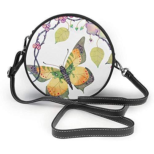 TURFED Secret Garden Print Round Crossbody Bags Mujer Bolso de hombro Correa de cadena de cuero de PU ajustable y cremallera superior Bolso pequeño Asas Tote