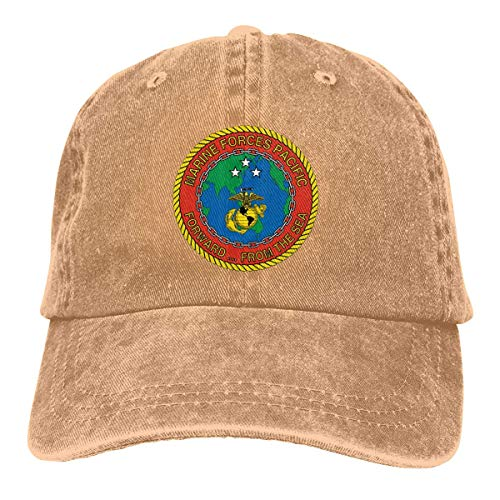 TUCBOA Cowboy Hat,Dad Hat,Moisture Wicking Trucker Hat,Classic Skull Cap,Marine Forces Pacific Vinyl Transfer Decal Unisex Denim Baseball Cap with Adjustable Buckle Closure
