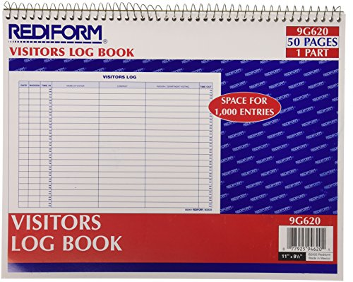 Rediform Visitors Log Book, Wirebound, White, 11 x 8.5 Inches, 50 Pages (9G620)