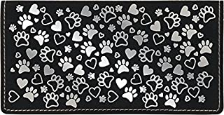 Paw Prints Laser Engraved Leatherette Checkbook Cover