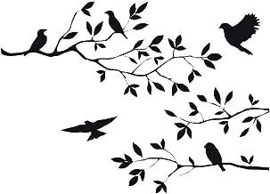 CUNYA 60 x 35 cm zwarte boomtakken muurstickers kinderkamer bladeren, doe-het-zelf verwijderbare vinyl muurkunst behang st...