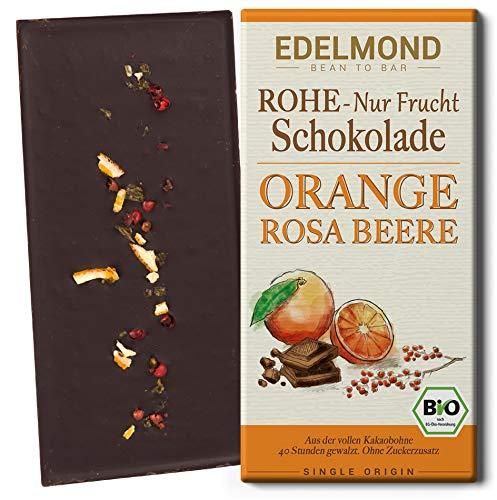Edelmond Bio 75% rohe Nur Frucht Schokolade mit Rosa Beere, Orange und Kokosblütennektar, sonst ohne Zucker. Roh, Vegan, Lactosefrei und Fair-Trade. (1 Tafel)