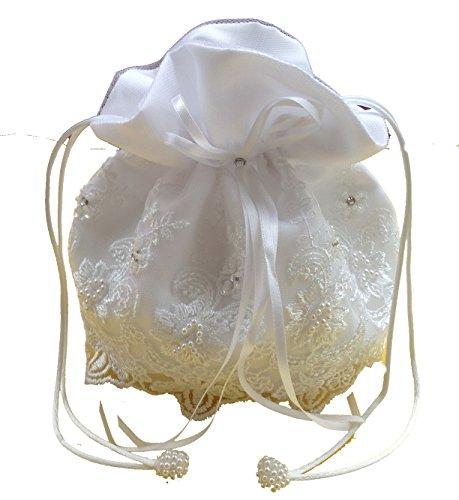 LadyMYP© Brauthandtasche, Brautbeutel mit Strasssteinen und Perlen auf Spitze, Hochzeit, Kommunion (weiß)