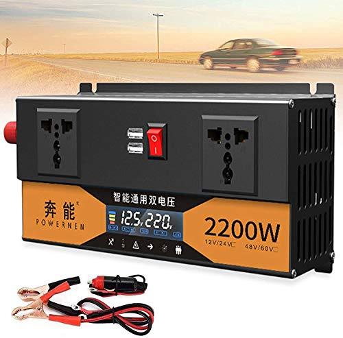 Inversor de Coche, 2200W 2600W 3200W Portátil DC 12V 24V a AC 220V-240V Inversor de Corriente Onda Sinusoidal Pura Cargador USB Individual Convertidor para Camiones RV y Emergencias (12V,2200W)