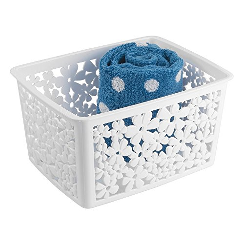 """mDesign Floral Bathroom Vanity Organizer Bin for Health and Beauty Products/Supplies, Towels - 8.5"""" x 10.8"""" x 14.1"""", White"""