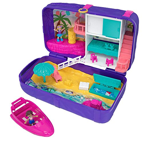 Polly Pocket Coffret Surprise Aventures à la Plage avec 2 mini-figurines et accessoires, autocollants et 5 surprises cachées, jouet enfant, édition 2018, FRY40