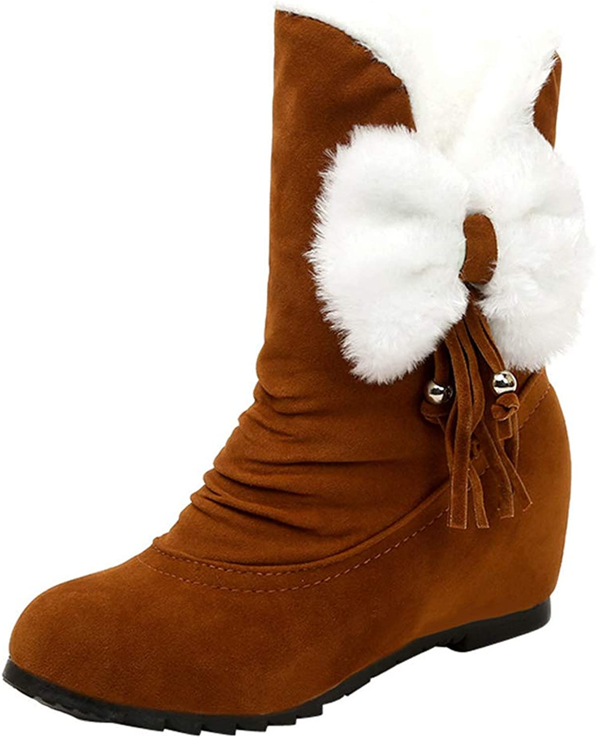 Zarbrina Womens Fleece Fur Lined Mid Calf Boots Round Toe Hideen Heel Slip On Casual Short Plush Flock Snow shoes