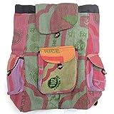 Pure Hemp - Mochila de varios bolsillos hecha a mano, diseño de Nepal con funda para...