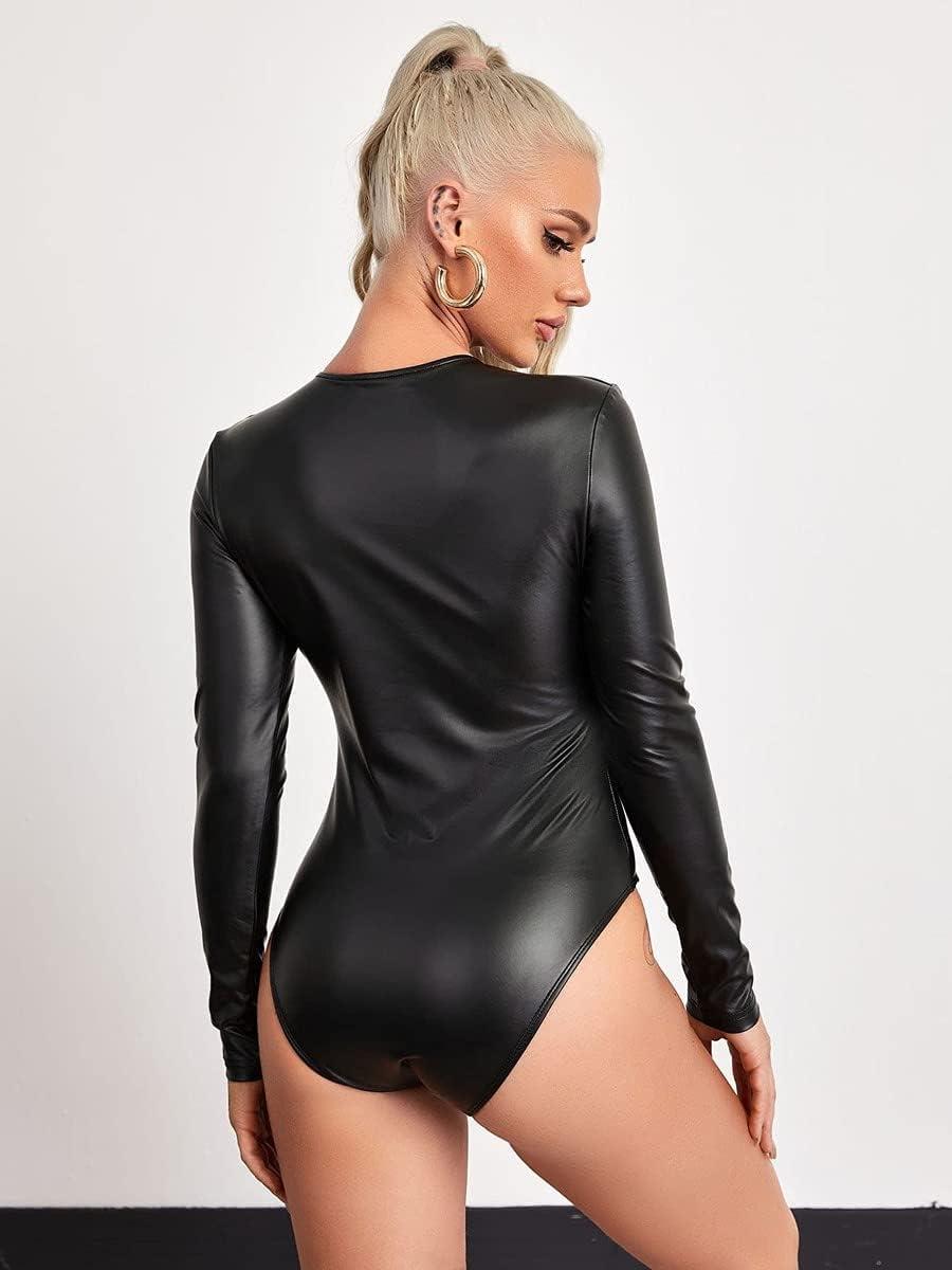 JYMBK Lace Jumpsuit V-Neck Form Fitted PU Bodysuit (Color : Black, Size : XL)
