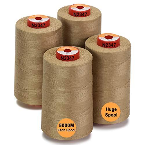 New brothread - 28 Opciones - 4 Bobinas Grandes de 5000M hilo de coser de poliéster todo propósito 40S/2 (Tex27) para coser, acolchar, patchwork, remalladora y overlock - Beige
