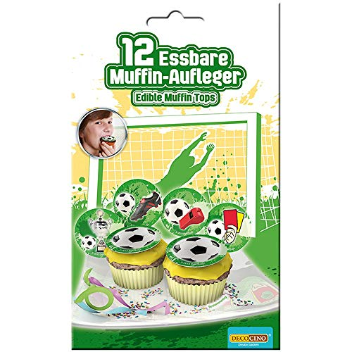 Dekoback 32715 12 essbare Muffinaufleger Fussball