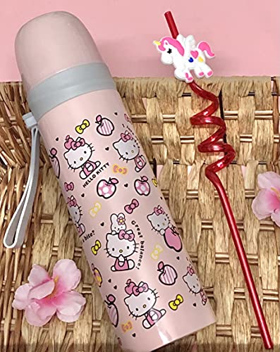 Le Delite 500 ml Cute Doll Cartoon Insulated Steel Water Bottle Ideal for Kids/ Water Bottle Mermaid//Princess/Unicorn Cartoon Printed Vacuum Insulated BPA Free Thermos Flask with Straw