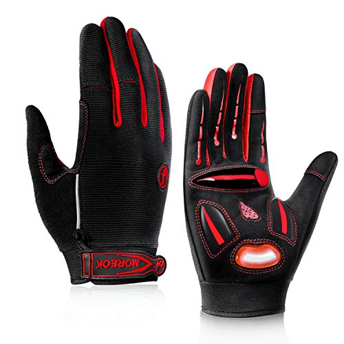 BIKINGMOREOK Cycling Gloves,All Mountain Bike Gloves Downhill SBR Pads Palm Touch Screen Full Finger Reflective Bike Gloves Red-M