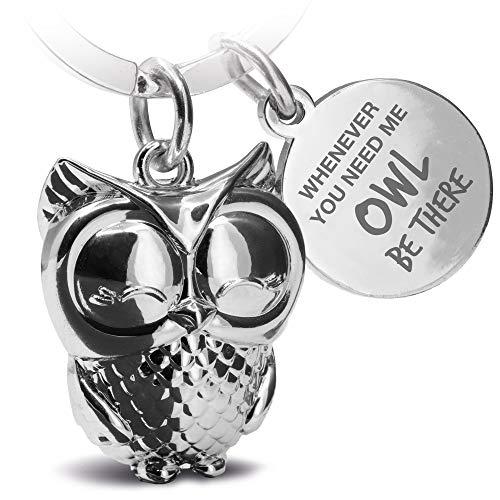 FABACH Eule Schlüsselanhänger Owly mit Gravur - Süßer Schlüsselanhänger Eule - Freundschaft und Liebe Glücksbringer aus Metall für Frauen in Silber - Whenever You Need me owl be There