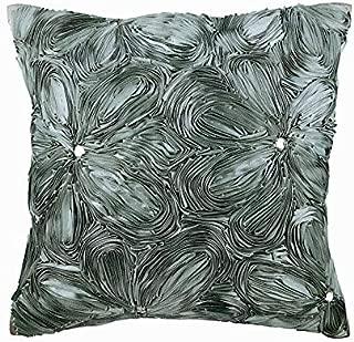 The HomeCentric Handmade Grey DecorativeToss Pillows 16x16 inch, Silk Cushion Coverfor Sofa, Nature & Floral, Ribbon Embroidery, Modern Decorative Pillowcase - Grey Floral Robe
