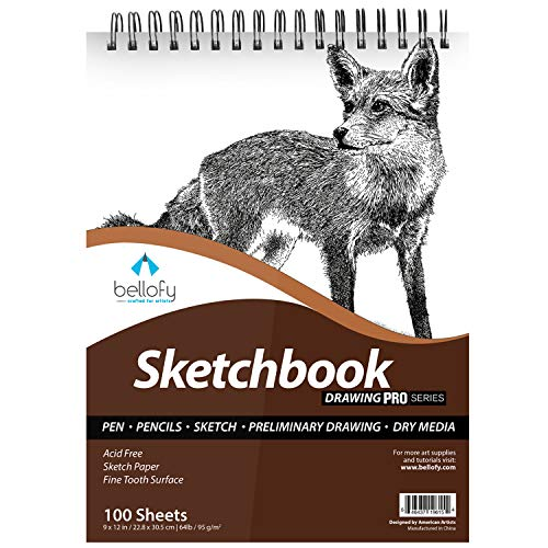 Bellofy 100 Sheet Sketch Book 9x12-Inch | 64 IB 95 GSM | Top Spiral-Bound Sketchpad for Artist | Sketching and Drawing Paper | Micro-Perforated & Acid Free